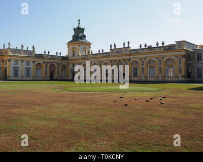 Scenic view to courtyard and facade of royal Wilanow palace in Warsaw european capital city of Poland in 2018 on October - Stock Photo