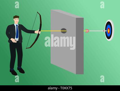 Businessman shooting arrow into hole wall to center target - Stock Photo