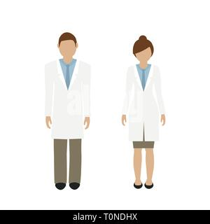 man and woman character doctor in white lab coat isolated on white background vector illustration EPS10 - Stock Photo