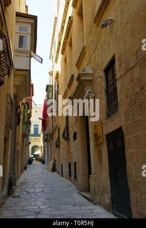 narrow lane in Mdina / Malta - Stock Photo