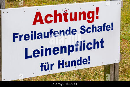 Warning Sign 'Freilaufende Schafe. Leinenpflicht für Hunde' warn in german about meeting with dogs sheeps. List in Sylt, Schleswig-Holstein, Germany. - Stock Photo