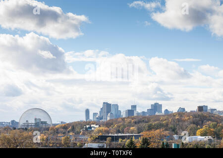 MONTREAL, CANADA - NOVEMBER 8, 2018: Montreal skyline, with iconic buildings of the CBD business skyscrapers and the Biosphere seen from Jean Drapeau  - Stock Photo