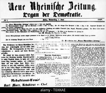 press / media, magazines, 'Neue Rheinische Zeitung', front page, editor: Karl Marx (1818 - 1883), number 1, Cologne, 1.6.1848, Additional-Rights-Clearance-Info-Not-Available - Stock Photo