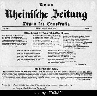 press / media, magazines, 'Neue Rheinische Zeitung', front page, editor: Karl Marx (1818 - 1883), number 301, Cologne, 19.5.1849, Additional-Rights-Clearance-Info-Not-Available - Stock Photo
