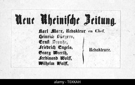 press / media, magazines, 'Neue Rheinische Zeitung', imprint, editor: Karl Marx (1818 - 1883), Cologne, 1848 / 1849, Additional-Rights-Clearance-Info-Not-Available - Stock Photo