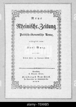 press / media, magazines, 'Neue Rheinische Zeitung', front page, editor: Karl Marx (1818 - 1883), first book, London, January 1850, Additional-Rights-Clearance-Info-Not-Available - Stock Photo