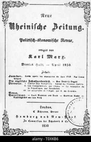 press / media, magazines, 'Neue Rheinische Zeitung', front page, editor: Karl Marx (1818 - 1883), fourth book, London, April 1850, Additional-Rights-Clearance-Info-Not-Available - Stock Photo