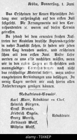 press / media, magazines, 'Neue Rheinische Zeitung', note by the editorial staff, editor: Karl Marx (1818 - 1883), Cologne, 1.6.1848, Additional-Rights-Clearance-Info-Not-Available - Stock Photo