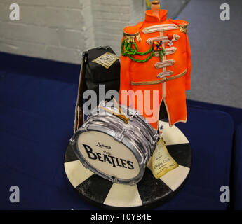 London, UK. 22nd Mar, 2019. Cake competition in the ideal home exhibition highlighting the Best Of British The Beatles Credit: Paul Quezada-Neiman/Alamy Live News - Stock Photo