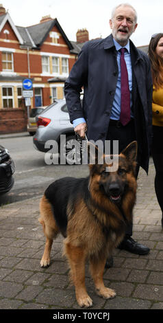 Newport, South Wales, UK. 22nd March 2019 Pictured is Jeremy Corbyn  with an alsatian dog called Acer, at he meets members of the public after attending attending the funeral of Newport MP Paul Flynn at St Woolos Cathedral, Stow Hill, Newport, Wales. Credit : Robert Melen/Alamy Live News. - Stock Photo