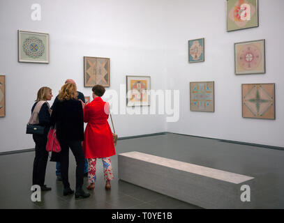 London, UK. 22nd Mar 2019. Members of the press and gallery staff at the press launch of the Emma Kunz 'Visionary Drawings' exhibition at the Serpentine Gallery Hyde Park London UK Credit: Martyn Goddard/Alamy Live News - Stock Photo
