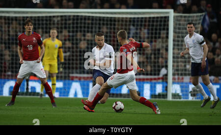 London, UK. 22nd Mar, 2019. Eric Dier (E) clashes with Tomas Soucek (CR), injuring his foot in the England v Czech Republic EUFA Euro 2020 Qualifier, at Wembley Stadium, UK on March 22, 2019. **Editorial use only, license required for commercial use. No use in betting, games or a single club/league/player publications** Credit: Paul Marriott/Alamy Live News - Stock Photo