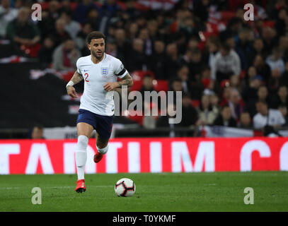 Peterborough, UK. 22nd Mar, 2019. Kyle Walker (E) England v Czech Republic EUFA Euro 2020 Qualifier, at Wembley Stadium, UK on March 22, 2019. **Editorial use only, license required for commercial use. No use in betting, games or a single club/league/player publications** Credit: Paul Marriott/Alamy Live News - Stock Photo