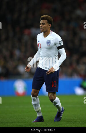 Peterborough, UK. 22nd Mar, 2019. Dele Alli (E) England v Czech Republic EUFA Euro 2020 Qualifier, at Wembley Stadium, UK on March 22, 2019. **Editorial use only, license required for commercial use. No use in betting, games or a single club/league/player publications** Credit: Paul Marriott/Alamy Live News - Stock Photo