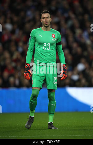 Peterborough, UK. 22nd Mar, 2019. Jiri Pavlenka (CR) England v Czech Republic EUFA Euro 2020 Qualifier, at Wembley Stadium, UK on March 22, 2019. **Editorial use only, license required for commercial use. No use in betting, games or a single club/league/player publications** Credit: Paul Marriott/Alamy Live News - Stock Photo