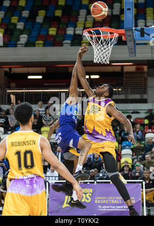 Copper Box Arena London, UK. 22nd Mar, 2019. Royals Tensions run high between home team London Lions and visitors, Sheffield Sharks in a BBL basketball game. Lions win 89/73. Credit: carol moir/Alamy Live News - Stock Photo
