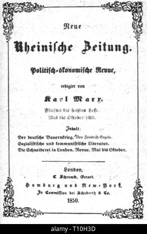 press / media, magazines, 'Neue Rheinische Zeitung', front page, editor: Karl Marx (1818 - 1883), fifth oto sixth book, London, May - October 1850, Additional-Rights-Clearance-Info-Not-Available - Stock Photo