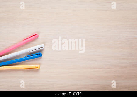 Set of colored pens on table - Stock Photo