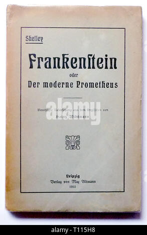 literature, title and title page, 'Frankenstein', by Mary Shelley (1797 - 1851), translation by Heinz Widtmann, cover, Leipzig, 1912, Additional-Rights-Clearance-Info-Not-Available - Stock Photo