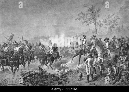 War of the First Coalition 1792 - 1797, Battle of Wuerzburg, 1.9. - 3.9.1796, of the commander of the Imperial Army archduke Charles of Austria-Teschen is ordering the attack, 3.9.1796, wood engraving after drawing by Wilhelm Camphausen, later 19th century, French Revolutionary Wars, Austria, Teschen, Imperial armed forces, Austrian cuirassiers, cavalry, cavalries, touch, soldiers, soldier, officers, officer, grenadiers, people, Holy Roman Empire, HRE, Imperial Army, Germany, Lower Franconia, Bavaria, 18th century, battle, battles, commander, com, Additional-Rights-Clearance-Info-Not-Available - Stock Photo