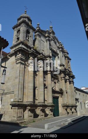 Main Facade Of The San Bartolome Parish On Sarmiento Street In Pontevedra. Nature, Architecture, History, Street Photography. August 19, 2014. Galicia - Stock Photo