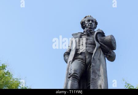 Madrid, Spain - Sept 12th, 2018: Bronze statue of Francisco de Goya, beside the Prado Museum, Madrid, Spain - Stock Photo