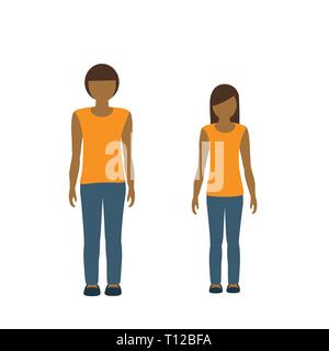 kids character boy and girl asian isolated on white background vector illustration EPS10 - Stock Photo