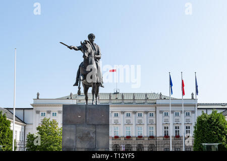 Warsaw, Poland - August 23, 2018: Old town historic building in capital city with statue in Presidential Palace square featuring Prince Jozef Poniatow - Stock Photo