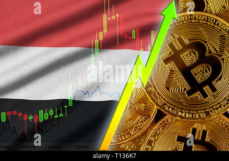 Yemen flag  and cryptocurrency growing trend with many golden bitcoins. Concept of raising Bitcoin in price or high conversion in cryptocurrency minin - Stock Photo