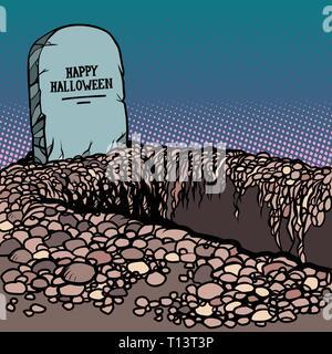 happy Halloween grave - Stock Photo
