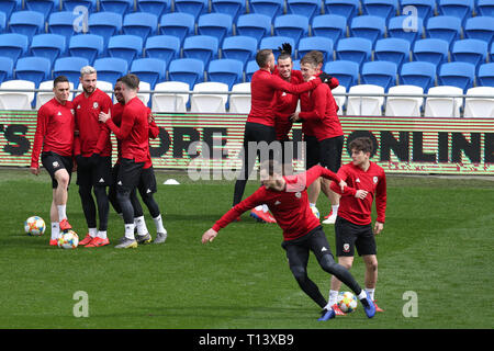 Cardiff, UK. 23rd Mar, 2019. Wales football squad training at the Cardiff City Stadium in Cardiff, South Wales on Saturday 23rd March 2019. the team are preparing for their UEFA Euro 2020 quailfier against Slovakia tomorrow. pic by Andrew Orchard/Alamy Live News - Stock Photo