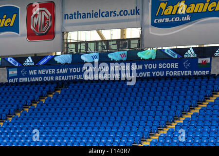 Cardiff, UK. 23rd Mar, 2019. Emiliano Sala tribute banner at the CCS. Wales v Slovakia UEFA Euro 2020 Qualifier at the Cardiff City Stadium, Credit: Lewis Mitchell/Alamy Live News - Stock Photo