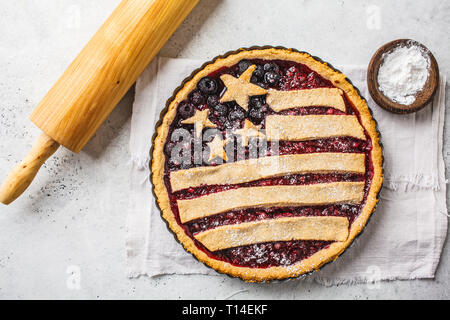 American flag berry pie. Independence Day of America concept. - Stock Photo