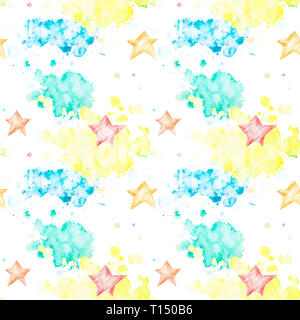 Seamless pattern with multicolored watercolor blots and asterisks on white background. Watercolor spots of yellow, green and blue in the form of cloud - Stock Photo