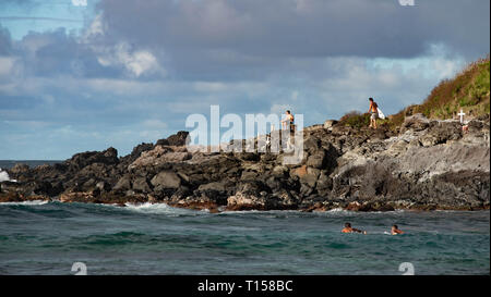 Tremendous and dangerous surf beach at North Shore Maui, Hawaii - Stock Photo