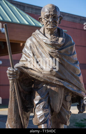 Mahatma Gandhi statue at the Visitor Center of the Martin Luther King, Jr. Historical Park in Atlanta, Georgia. (USA) - Stock Photo