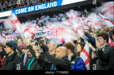 London, UK. 22nd Mar, 2019. England supporters during the UEFA 2020 Euro Qualifier match between England and Czech Republic at Wembley Stadium, London, England on 22 March 2019. Photo by Andy Rowland/PRiME Media Images. Credit: Andrew Rowland/Alamy Live News - Stock Photo