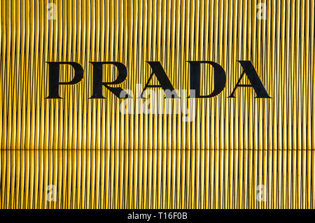 Bejing China 23.02.2019 - Prada store logo Luxury shopping center in the heart of the city - Stock Photo
