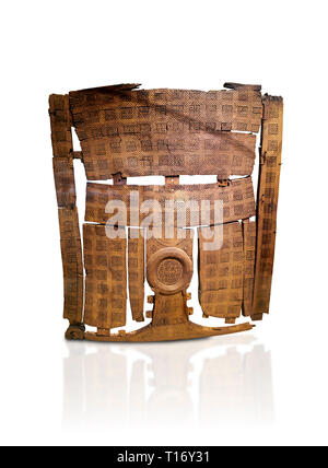 Phrygian inlayed Wooden Screen from the Gordion Great Tumulus. Phrygian Collection, 8th-7th century BC - Museum of Anatolian Civilisations Ankara. Tur - Stock Photo