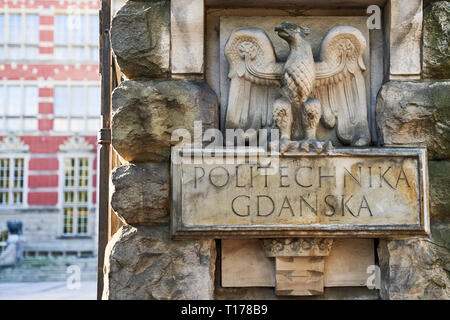 Entrance of Gdansk University of Technology in Poland with words Politechnika Gdanska meaning this higher educational institutiton's name in Polish - Stock Photo