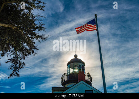 MONTERREY,  CALIFORNIA, USA. the old lighthouse of Point Pinos today is a historical monument - Stock Photo