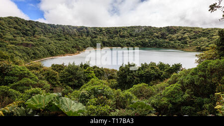 scenic view of a lake in the smaller crater of Poas Volacano in Costa Rica - Stock Photo
