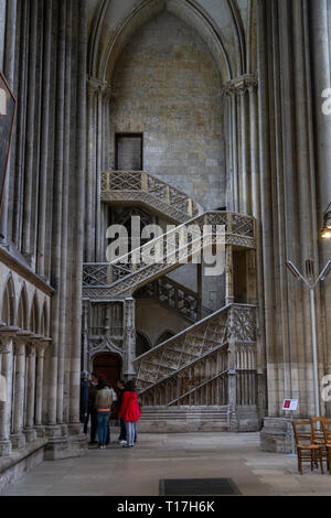 Escalier de la Librairie, booksellers' staircase in the Cathedrale Notre Dame in Rouen, Seine-Maritime, France. - Stock Photo