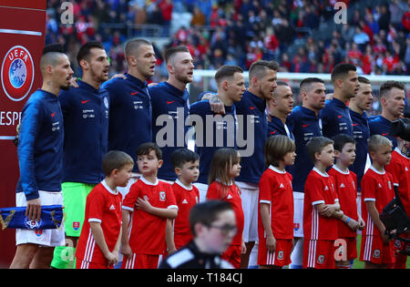 Cardiff, UK. 24th Mar, 2019. UEFA European Championships Qualification football, Wales versus Slovakia; Slovakia team stand for the anthem Credit: Action Plus Sports/Alamy Live News - Stock Photo