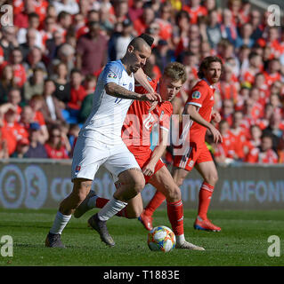 Cardiff, Wales, UK. 24th Mar 2019. Football, UEFA European Qualifiers Group E, Wales v Slovakia, 24/03/19, Cardiff City Stadium, K.O 2PM  Wales' David Brooks challenges Slovakia's Marek Hamsik  Andrew Dowling Credit: Andrew Dowling/Influential Photography/Alamy Live News - Stock Photo