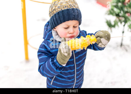 Little boy 4-5 years old, in winter in city in fresh air on background of snow. Blowing on hot boiled corn. Breakfast lunch and snacks on weekends on - Stock Photo