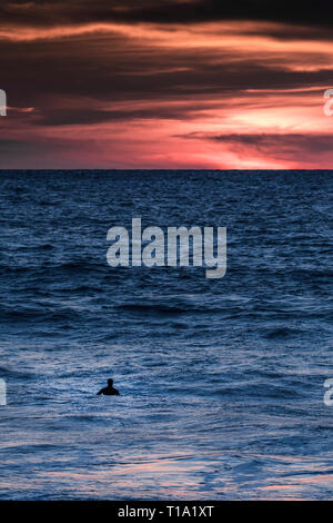 A surfer waiting for a wave as the sun sets at Fistral in Newquay in Cornwall. - Stock Photo