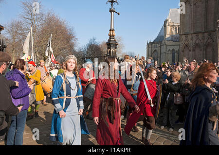 Procession of people in costume at the Viking Festival York North Yorkshire England UK United Kingdom GB Great Britain - Stock Photo