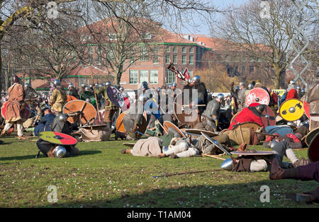 Battle between Vikings and Anglo Saxons at the Viking Festival York North Yorkshire England UK United Kingdom GB Great Britain - Stock Photo
