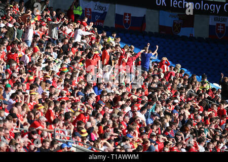 Cardiff, UK. 24th Mar, 2019. Wales fans. UEFA Euro 2020 qualifier match, group E, Wales v Slovakia at the Cardiff city Stadium in Cardiff, South Wales on Sunday 24th March 2019. pic by Andrew Orchard /Andrew Orchard sports photography/Alamy live News EDITORIAL USE ONLY Credit: Andrew Orchard sports photography/Alamy Live News - Stock Photo